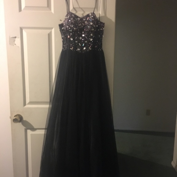 Dresses | Long Black Corset Prom Dress Strapless | Poshmark